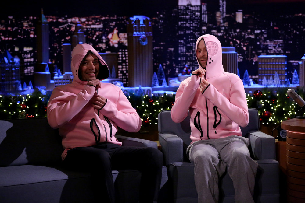 THE TONIGHT SHOW STARRING JIMMY FALLON -- Episode 0590 -- Pictured: (l-r) Host Jimmy Fallon and actor Jon Glaser have a relaxing interview on December 13, 2016 -- (Photo by: Andrew Lipovsky/NBC)
