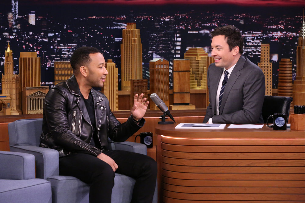 THE TONIGHT SHOW STARRING JIMMY FALLON -- Episode 0583 -- Pictured: (l-r) Musician John Legend during an interview with host Jimmy Fallon on December 02, 2016 -- (Photo by: Andrew Lipovsky/NBC)