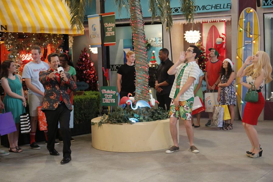 "LIV AND MADDIE – ""Cali Christmas-A-Rooney"" – Maddie is upset that she can't be in Wisconsin for Christmas and to cheer her up, Liv plans an incredible surprise. Meanwhile, Joey participates in a Mr. North Pole Santa Claus pageant against an old foe and Parker tries to teach Ruby the wonders of a Snow Day. This episode of ""Liv and Maddie: Cali Style"" airs Friday, December 02 (8:00 – 8:30 P.M. EST) on Disney Channel. (Disney Channel/Tony Rivetti) KURT LONG, JOEY BRAGG, DOVE CAMERON"