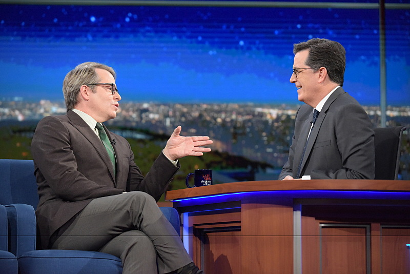 The Late Show with Stephen Colbert and guest Matthew Broderick during Friday's 12/02/16 show in New York. Photo: Scott Kowalchyk/CBS ©2016CBS Broadcasting Inc. All Rights Reserved.