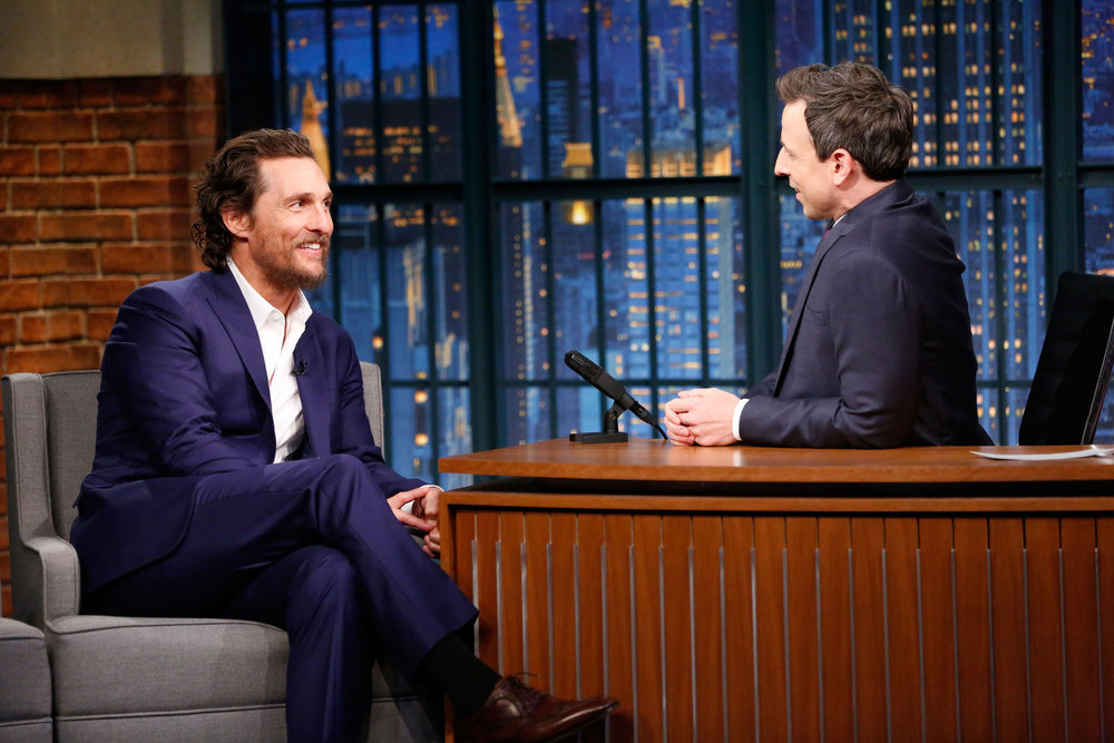 LATE NIGHT WITH SETH MEYERS -- Episode 467 -- Pictured: (l-r) Actor Matthew McConaughey during an interview with host Seth Meyers on December 22, 2016 -- (Photo by: Lloyd Bishop/NBC)