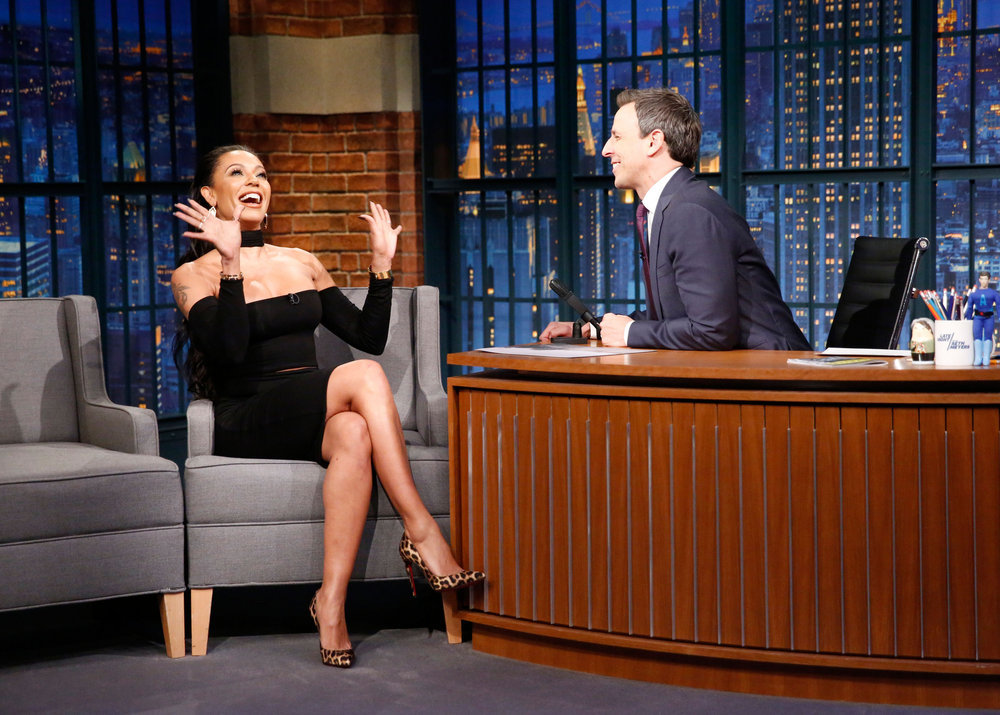 LATE NIGHT WITH SETH MEYERS -- Episode 467 -- Pictured: (l-r)Television personality Mel B during an interview with host Seth Meyers on December 22, 2016 -- (Photo by: Lloyd Bishop/NBC)