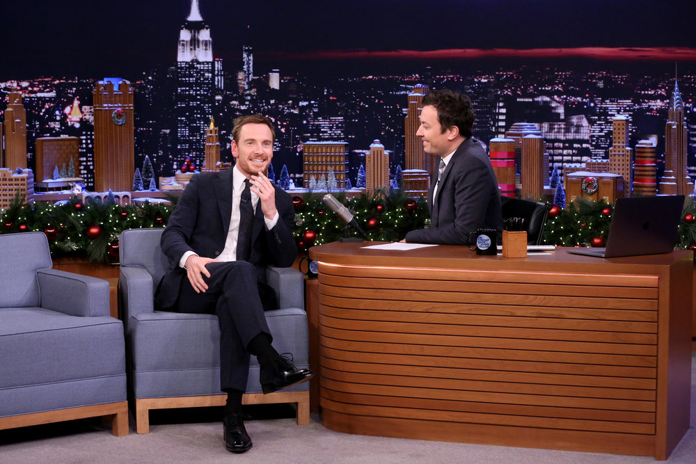 THE TONIGHT SHOW STARRING JIMMY FALLON -- Episode 0590 -- Pictured: (l-r) Actor Michael Fassbender during an interview with host Jimmy Fallon on December 13, 2016 -- (Photo by: Andrew Lipovsky/NBC)