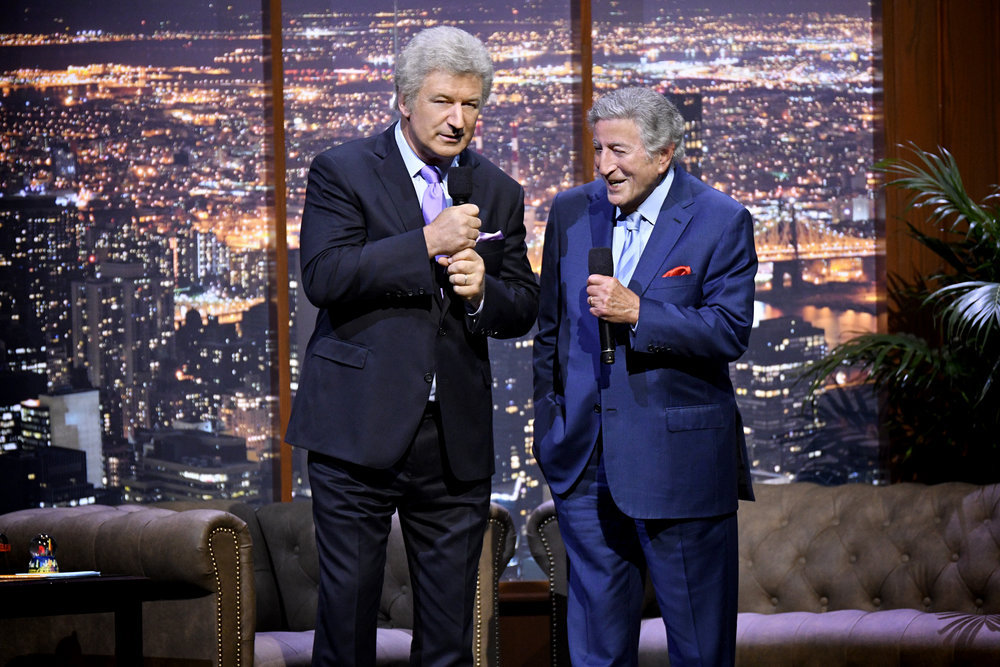 TONY BENNETT CELEBRATES 90: THE BEST IS YET TO COME -- Concert -- Pictured: (l-r) Alec Baldwin, Tony Bennett -- (Photo by: Peter Kramer/NBC)