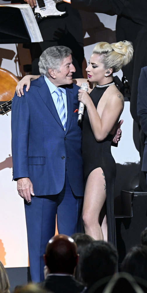 TONY BENNETT CELEBRATES 90: THE BEST IS YET TO COME -- Concert -- Pictured: (l-r) Tony Bennett, Lady Gaga -- (Photo by: Peter Kramer/NBC)