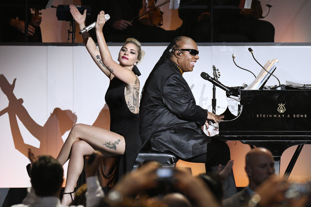 TONY BENNETT CELEBRATES 90: THE BEST IS YET TO COME -- Concert -- Pictured: (l-r) Lady Gaga, Stevie Wonder -- (Photo by: Peter Kramer/NBC)
