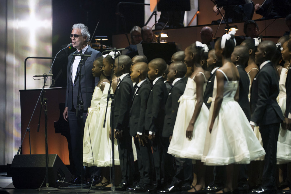 TONY BENNETT CELEBRATES 90: THE BEST IS YET TO COME -- Concert -- Pictured: Andrea Bocelli with Voices of Haiti (Children's Choir) -- (Photo by: Virginia Sherwood/NBC)