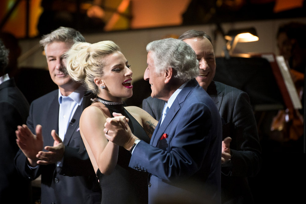 TONY BENNETT CELEBRATES 90: THE BEST IS YET TO COME -- Concert -- Pictured: (l-r) Alec Baldwin, Lady Gaga, Tony Bennett, Kevin Spacey -- (Photo by: Virginia Sherwood/NBC)