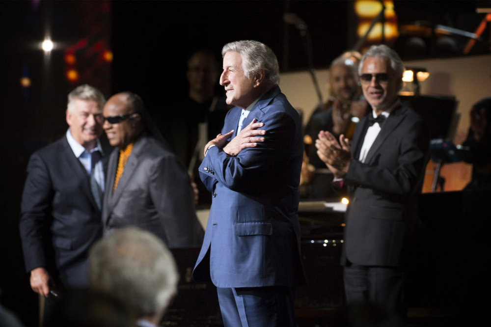 TONY BENNETT CELEBRATES 90: THE BEST IS YET TO COME -- Concert -- Pictured: (l-r) Alec Baldwin, Stevie Wonder, Tony Bennett, Andrea Bocelli -- (Photo by: Virginia Sherwood/NBC)