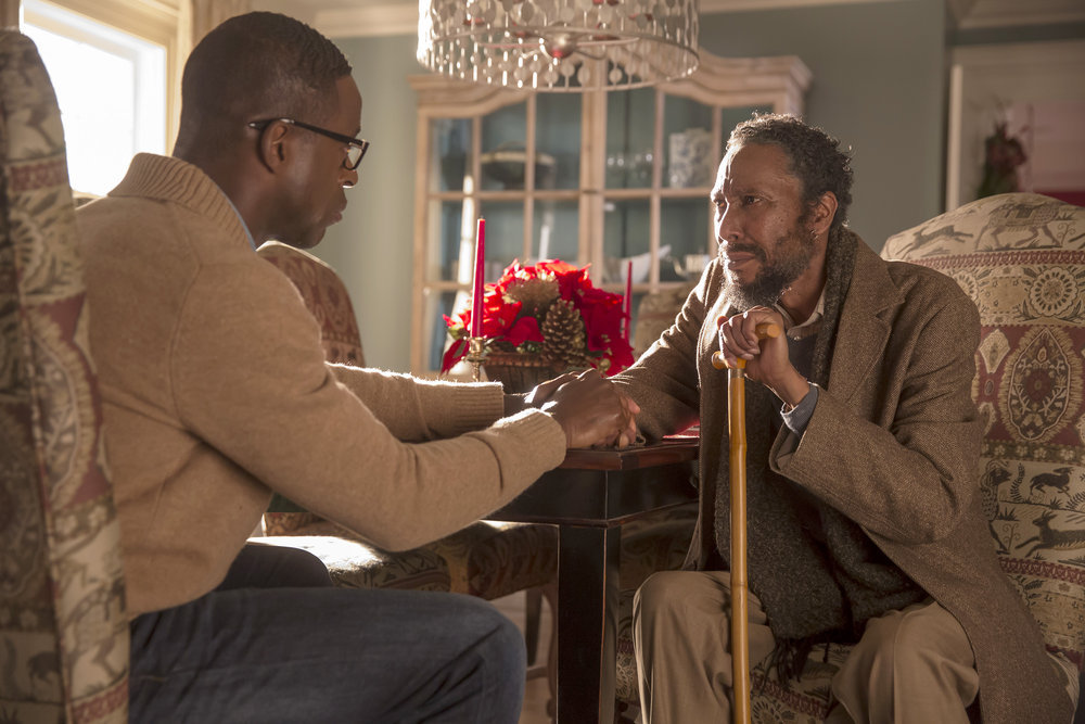 """THIS IS US -- """"The Right Thing to Do"""" Episode 111 -- Pictured: (l-r) Sterling K. Brown as Randall Pearson, Ron Cephas Jones as William Hill -- (Photo by: Ron Batzdorff/NBC)"""