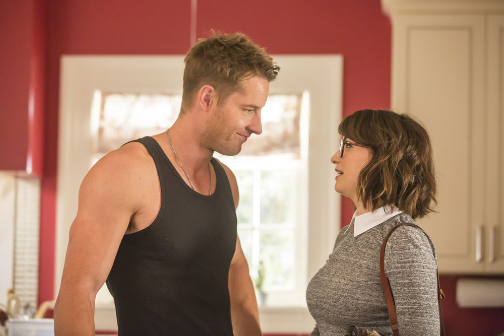 """THIS IS US -- """"The Right Thing to Do"""" Episode 111 -- Pictured: (l-r) Justin Hartley as Kevin Pearson, Milana Vayntrub as Sloane Sandburg -- (Photo by: Ron Batzdorff/NBC)"""