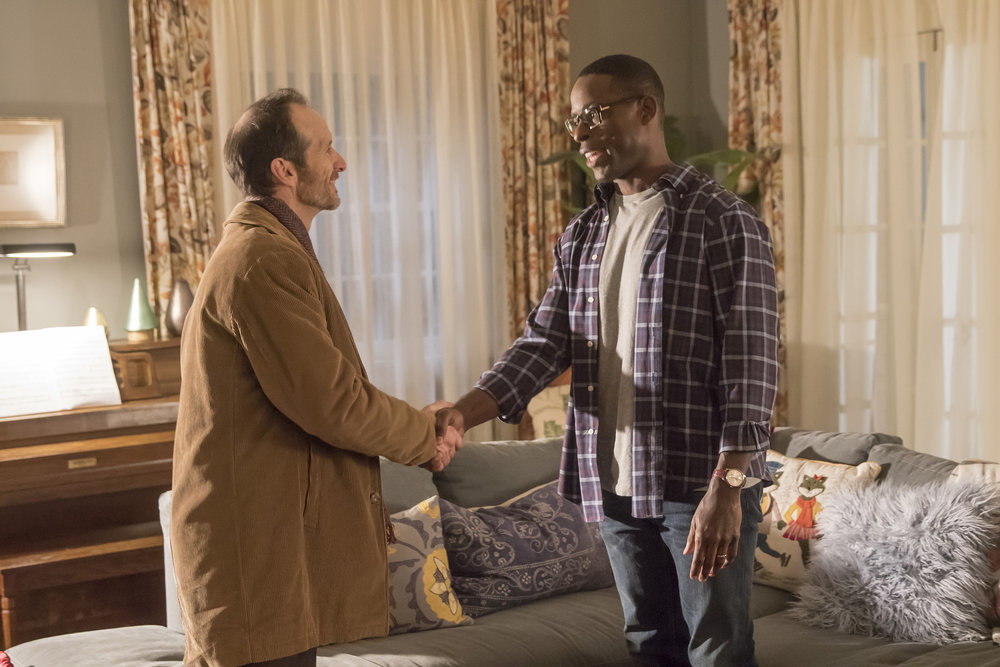 """THIS IS US -- """"The Right Thing to Do"""" Episode 111 -- Pictured: (l-r) Denis O'Hare as Jesse, Sterling K. Brown as Randall Pearson -- (Photo by: Ron Batzdorff/NBC)"""