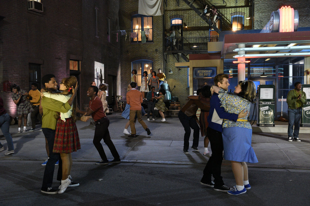 HAIRSPRAY LIVE! -- Pictured: (l-r) Ephraim Sykes as Seaweed J. Stubbs, Ariana Grande as Penny Pingleton, Garrett Clayton as Link Larkin, Maddie Baillio as Tracy Turnblad -- (Photo by: Colleen Hayes/NBC)