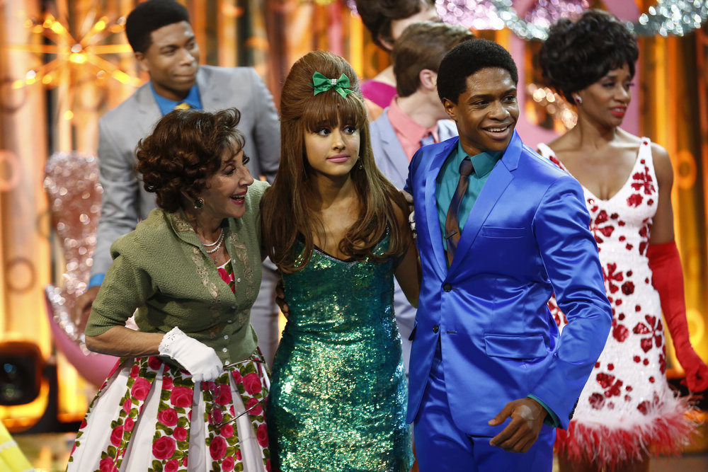 HAIRSPRAY LIVE! -- Pictured: (l-r) Andrea Martin as Prudy Pingleton, Ariana Grande as Penny Pingleton, Ephraim Sykes as Seaweed J. Stubbs -- (Photo by: Justin Lubin/NBC)