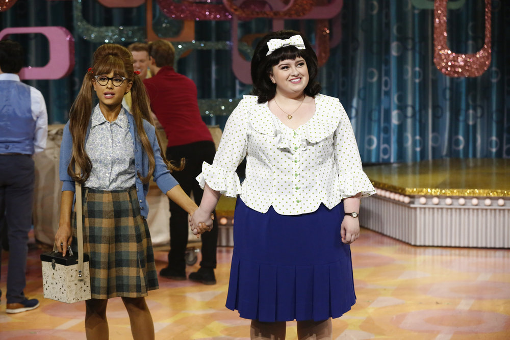 HAIRSPRAY LIVE! -- Pictured: (l-r) Ariana Grande as Penny Pingleton, Maddie Baillio as Tracy Turnblad -- (Photo by: Justin Lubin/NBC)