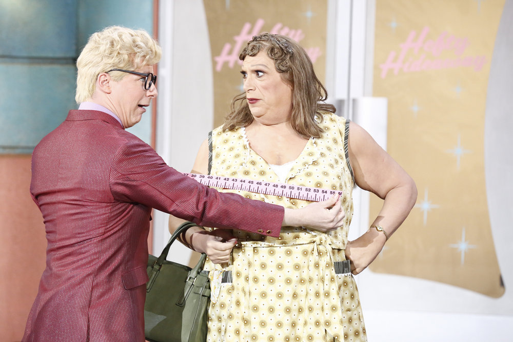 HAIRSPRAY LIVE! -- Pictured: (l-r) Sean Hayes as Mr. Pinky, Harvey Fierstein as Edna Turnblad -- (Photo by: Justin Lubin/NBC)