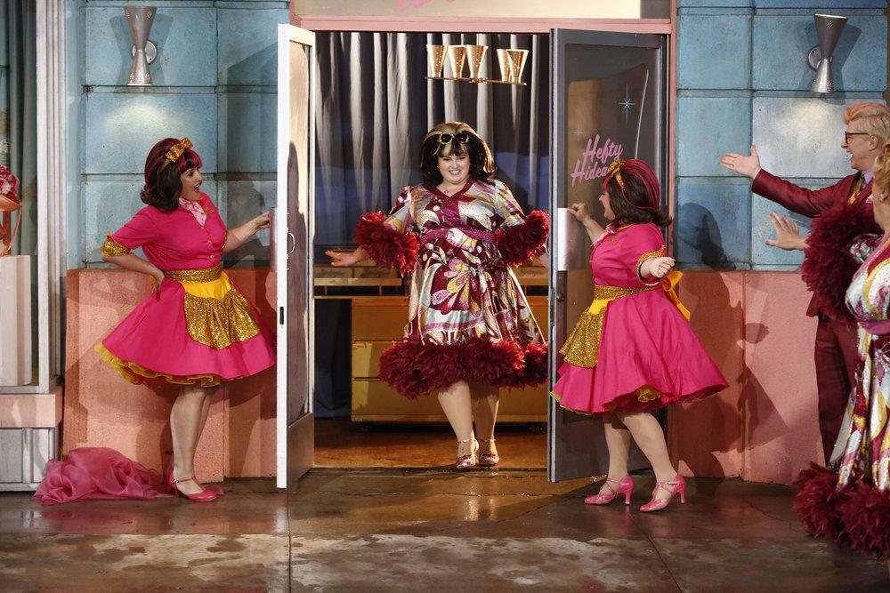 HAIRSPRAY LIVE! -- Pictured: Ricki Lake &  Marissa Winoker as Pinky's Girls, Maddie Baillio as Tracy Turnblad (center) -- (Photo by: Justin Lubin/NBC)