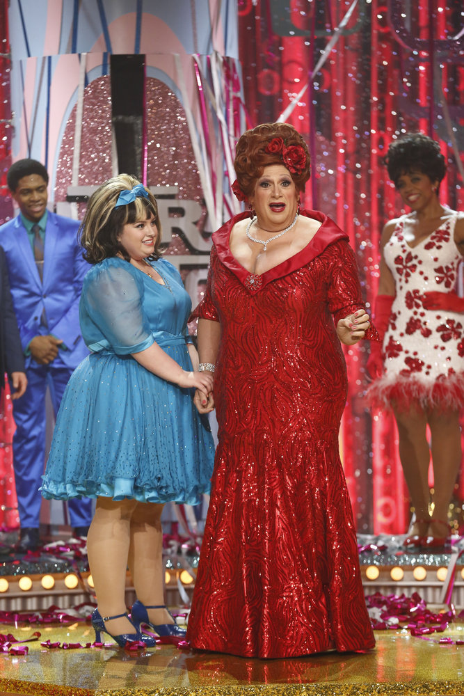 HAIRSPRAY LIVE! -- Pictured: (l-r) Maddie Baillio as Tracy Turnblad, Harvey Fierstein as Edna Turnblad -- (Photo by: Justin Lubin/NBC)