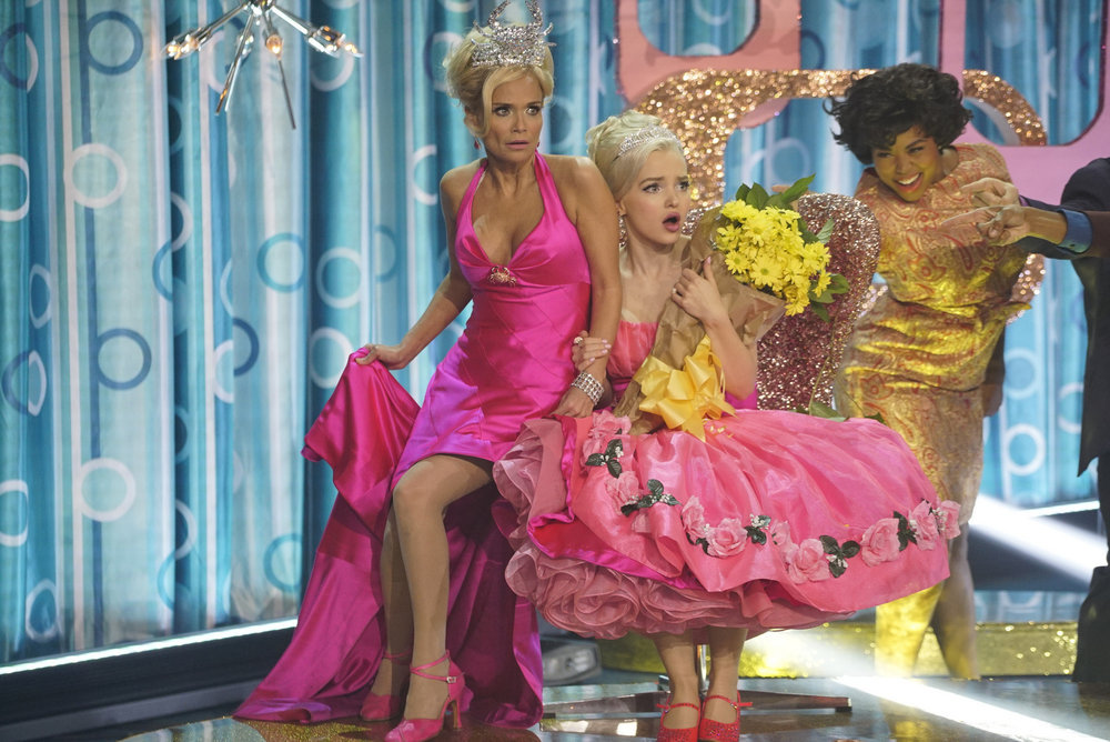 HAIRSPRAY LIVE! -- Pictured: (l-r) Kristin Chenoweth as Velma Von Tussle, Dove Cameron as Amber Von Tussle -- (Photo by: Paul Drinkwater/NBC)