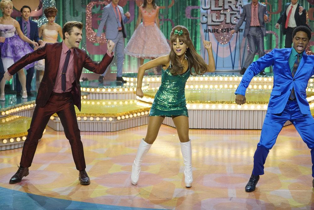 HAIRSPRAY LIVE! -- Pictured: (l-r) Garrett Clayton as Link Larkin, Ariana Grande as Penny Pingleton, Ephraim Sykes as Seaweed J. Stubbs -- (Photo by: Paul Drinkwater/NBC)