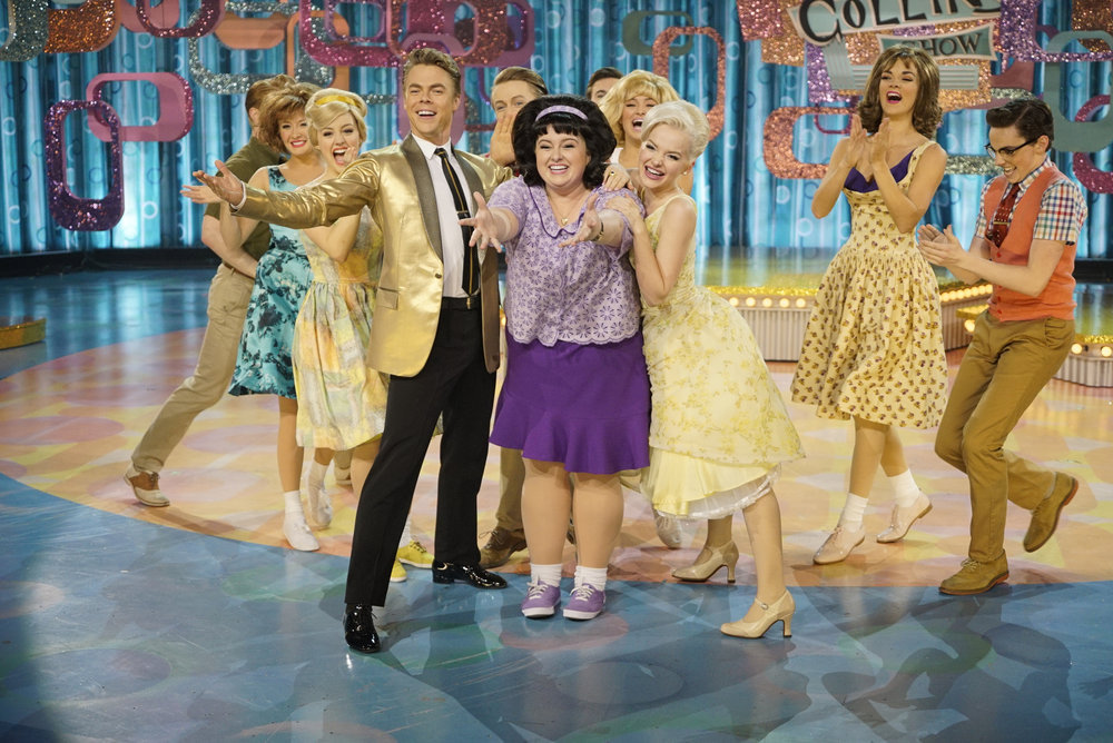 HAIRSPRAY LIVE! -- Pictured: (l-r) Derek Hough as Corny Collins, Maddie Baillio as Tracy Turnblad, Dove Cameron as Amber Von Tussle -- (Photo by: Paul Drinkwater/NBC)