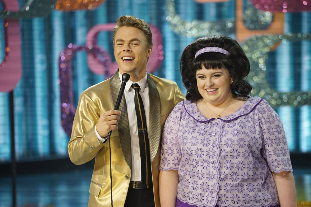 HAIRSPRAY LIVE! -- Pictured: (l-r) Derek Hough as Corny Collins, Maddie Baillio as Tracy Turnblad -- (Photo by: Paul Drinkwater/NBC)