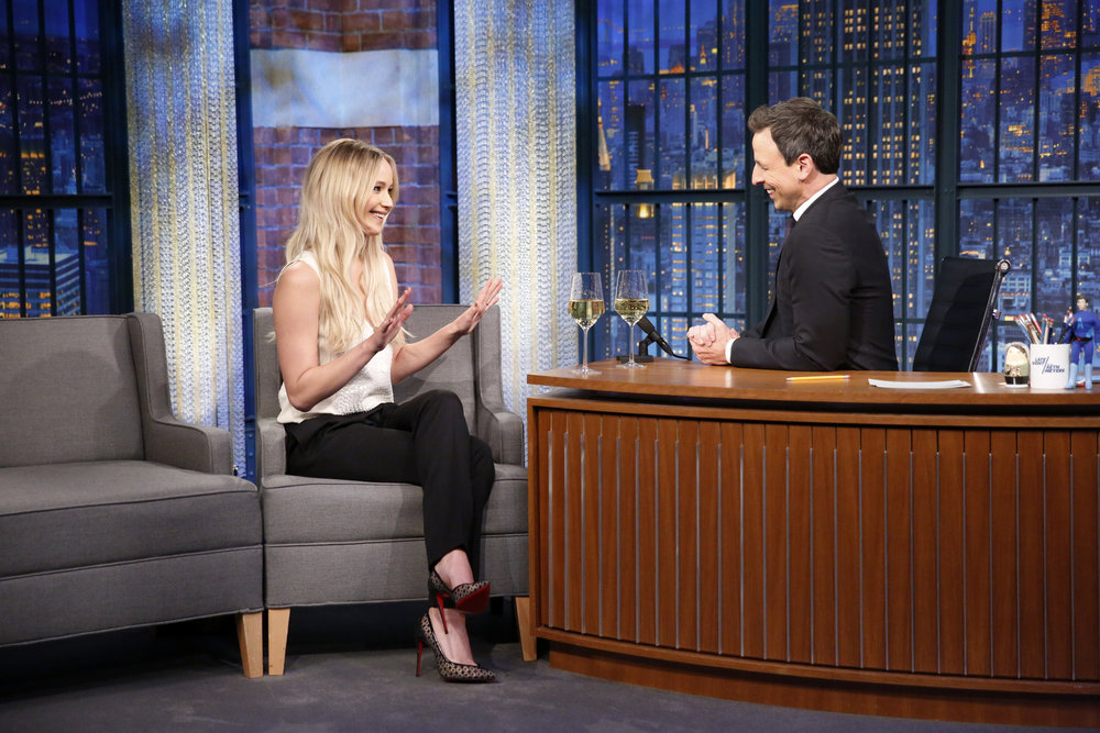"LATE NIGHT WITH SETH MEYERS -- ""New Year's Eve Special"" -- Pictured: (l-r) Actress Jennifer Lawrence is interviewed by host Seth Meyers during the ""Late Night with Seth Meyers New Year's Eve Special"", airing on December 31, 2016 -- (Photo by: Lloyd Bishop/NBC)"