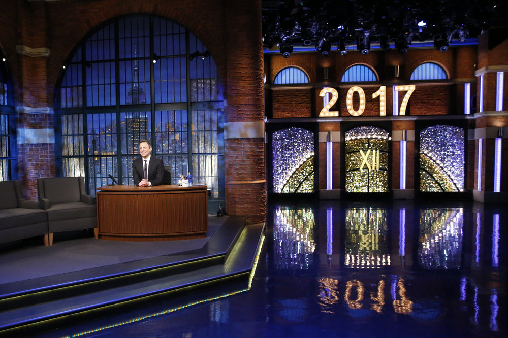 "LATE NIGHT WITH SETH MEYERS -- ""New Year's Eve Special"" -- Pictured: Host Seth Meyers during the monologue of the ""Late Night with Seth Meyers New Year's Eve Special"", airing on December 31, 2016 -- (Photo by: Lloyd Bishop/NBC)"
