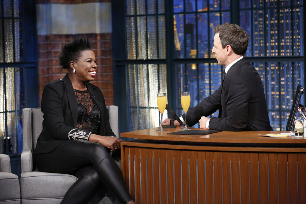 "LATE NIGHT WITH SETH MEYERS -- ""New Year's Eve Special"" -- Pictured: (l-r) Actress Leslie Jones is interviewed by host Seth Meyers during the ""Late Night with Seth Meyers New Year's Eve Special"", airing on December 31, 2016 -- (Photo by: Lloyd Bishop/NBC)"
