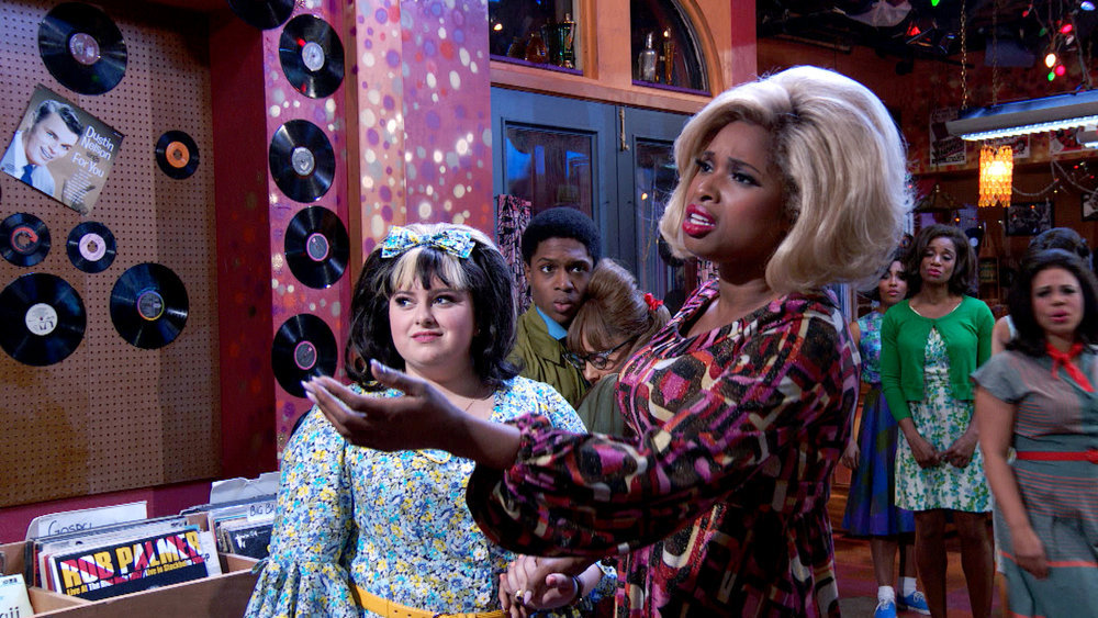 HAIRSPRAY LIVE! -- Pictured: (l-r) Maddie Baillio as Tracy Turnblad, Ephraim Sykes as Seaweed J. Stubbs, Ariana Grande as Penny Pingleton, Jennifer Hudson as Motormouth Maybelle -- (Photo by: NBC)