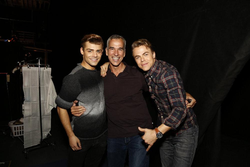 HAIRSPRAY LIVE! -- Pictured: (l-r) Garrett Clayton, Jerry Mitchell, Derek Hough -- (Photo by: Daniel Cristol/NBC)