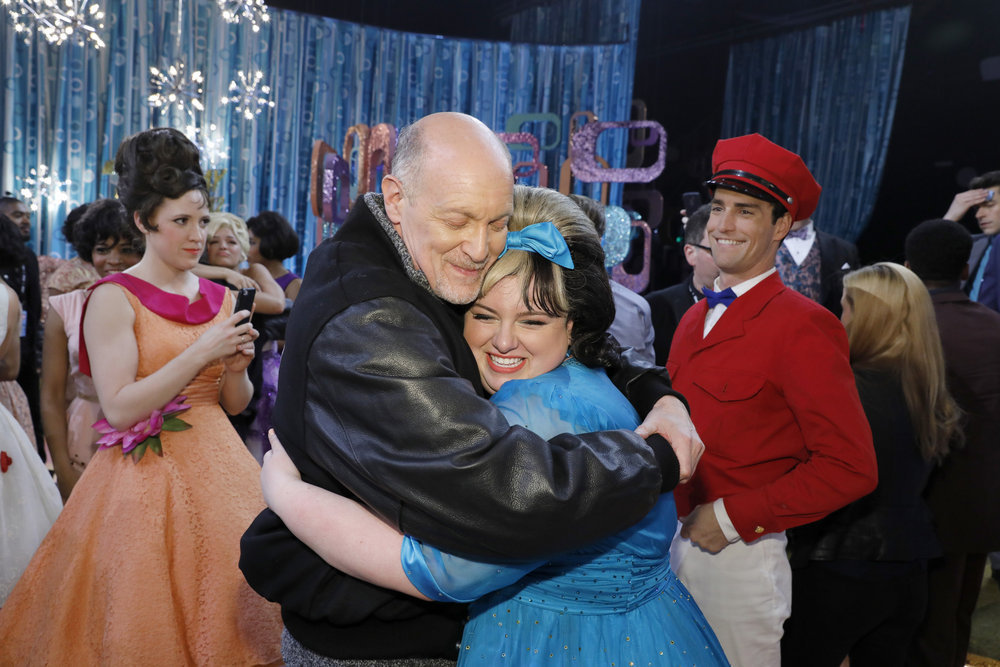 """HAIRSPRAY LIVE! -- """"Live Show Events"""" -- Pictured: (l-r) Neil Meron, Maddie Baillio -- (Photo by: Trae Patton/NBC)"""