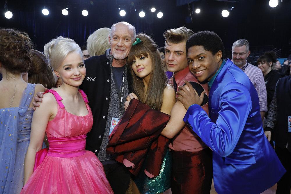 "HAIRSPRAY LIVE! -- ""Live Show Events"" -- Pictured: (l-r) Dove Cameron, Neil Meron, Ariana Grande, Garrett Clayton, Ephraim Sykes -- (Photo by: Trae Patton/NBC)"