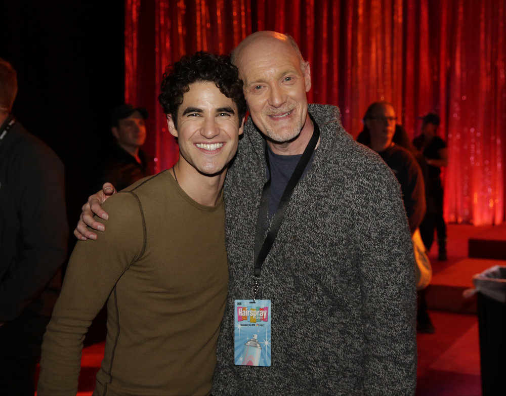 HAIRSPRAY LIVE! -- Pictured: (l-r) Darren Criss, Neil Meron, Executive Producer -- (Photo: Paul Drinkwater/NBC)