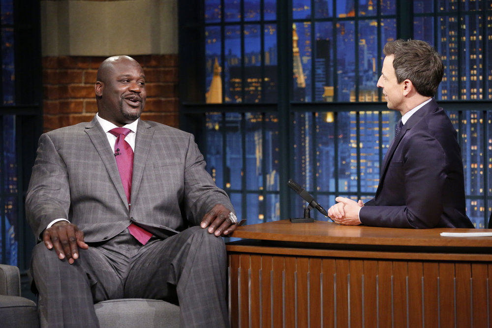LATE NIGHT WITH SETH MEYERS -- Episode 457 -- Pictured: (l-r) Former basketball player, Shaquille O'Neal, during an interview with host Seth Meyers on December 6, 2016 -- (Photo by: Lloyd Bishop/NBC)