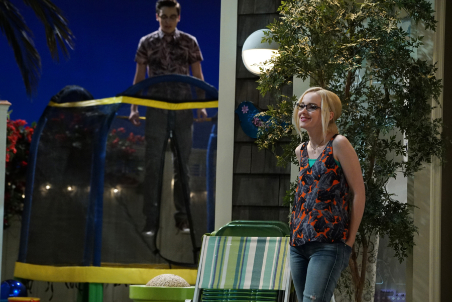 "LIV AND MADDIE: CALI STYLE - ""Standup-A-Rooney"" - Joey is nervous when he's invited to perform stand-up comedy at a local restaurant. Parker finds himself in a predicament when he isn't sure if he's asked his fellow classmate to be his partner in a science competition or his date to a school dance. This episode of ""Liv and Maddie: Cali Style"" airs Friday, January 06 (5:30 - 6:00 P.M. EST) in Disney Channel. (Freeform/Eric McCandless) DOVE CAMERON"