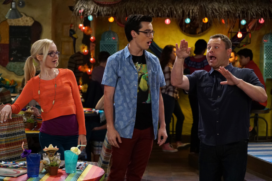 "LIV AND MADDIE: CALI STYLE - ""Standup-A-Rooney"" - Joey is nervous when he's invited to perform stand-up comedy at a local restaurant. Parker finds himself in a predicament when he isn't sure if he's asked his fellow classmate to be his partner in a science competition or his date to a school dance. This episode of ""Liv and Maddie: Cali Style"" airs Friday, January 06 (5:30 - 6:00 P.M. EST) in Disney Channel. (Freeform/Eric McCandless) DOVE CAMERON, JOEY BRAGG, FRANK CALIENDO"