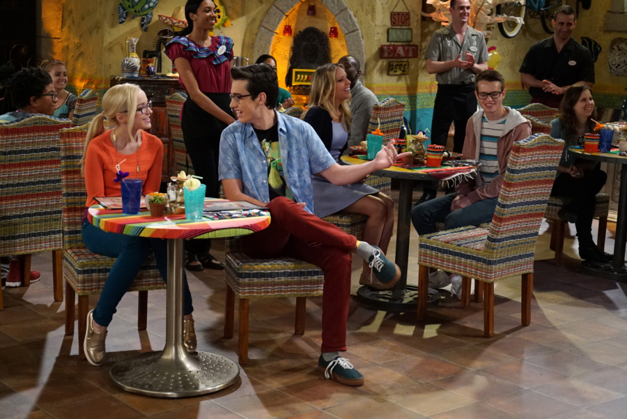 "LIV AND MADDIE: CALI STYLE - ""Standup-A-Rooney"" - Joey is nervous when he's invited to perform stand-up comedy at a local restaurant. Parker finds himself in a predicament when he isn't sure if he's asked his fellow classmate to be his partner in a science competition or his date to a school dance. This episode of ""Liv and Maddie: Cali Style"" airs Friday, January 06 (5:30 - 6:00 P.M. EST) in Disney Channel. (Freeform/Eric McCandless) DOVE CAMERON, JOEY BRAGG"