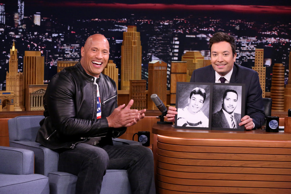 THE TONIGHT SHOW STARRING JIMMY FALLON -- Episode 0588 -- Pictured: (l-r) Actor Dwayne Johnson during an interview with host Jimmy Fallon on December 09, 2016 -- (Photo by: Andrew Lipovsky/NBC)