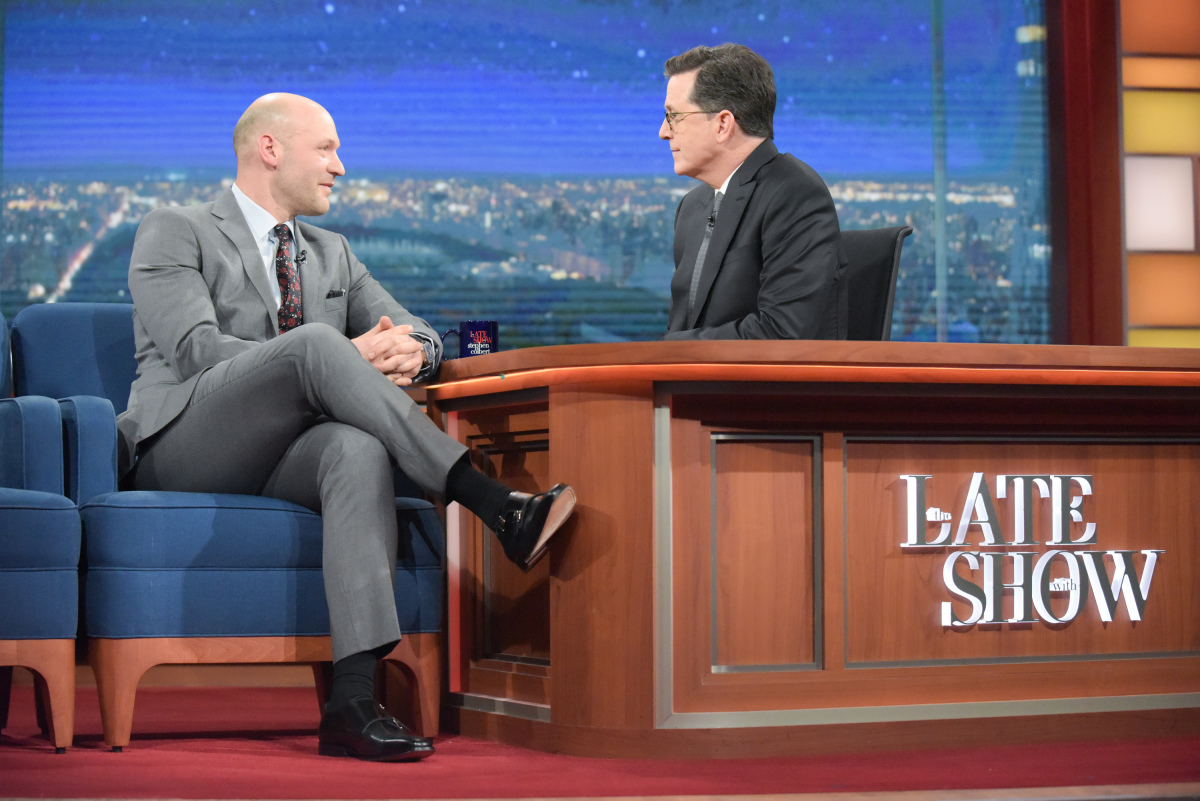The Late Show with Stephen Colbert and guest Corey Stoll during Monday's 01/16/17 show in New York. Photo: Scott Kowalchyk/CBS ©2016CBS Broadcasting Inc. All Rights Reserved.