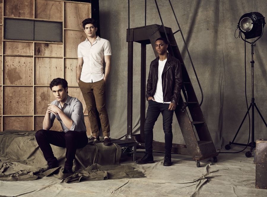 """FAMOUS IN LOVE – Freeform's """"Famous in Love"""" stars Charlie DePew as Jake, Carter Jenkins as Rainer and Keith Powers as Jordan. (Freeform/Nino Munoz)"""