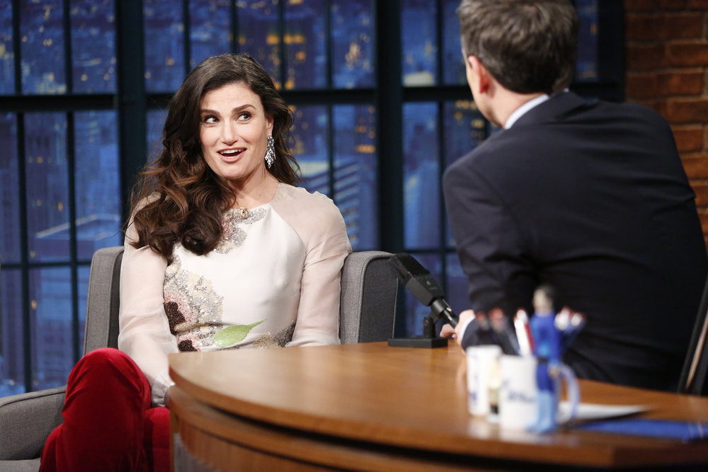 LATE NIGHT WITH SETH MEYERS -- Episode 476 -- Pictured: (l-r) Singer Idina Menzel during an interview with host Seth Meyers on January 23, 2017 -- (Photo by: Lloyd Bishop/NBC)