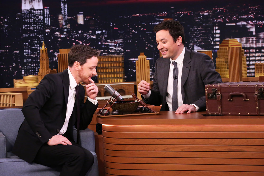 THE TONIGHT SHOW STARRING JIMMY FALLON -- Episode 0605 -- Pictured: (l-r) Actor James McAvoy and host Jimmy Fallon during the Ramen Challenge on January 18, 2017 -- (Photo by: Andrew Lipovsky/NBC)