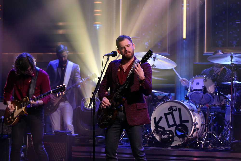 THE TONIGHT SHOW STARRING JIMMY FALLON -- Episode 0605 -- Pictured: Musical guest Kings of Leon performs on January 18, 2017 -- (Photo by: Andrew Lipovsky/NBC)