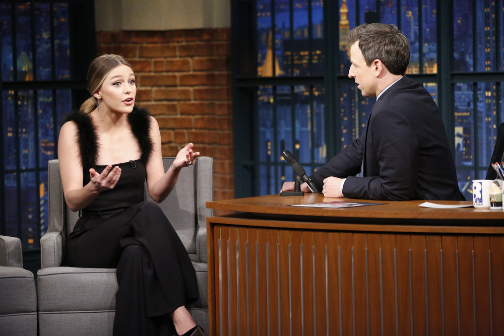 LATE NIGHT WITH SETH MEYERS -- Episode 476 -- Pictured: (l-r) Actress Melissa Benoist during an interview with host Seth Meyers on January 23, 2017 -- (Photo by: Lloyd Bishop/NBC)