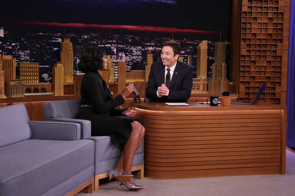 THE TONIGHT SHOW STARRING JIMMY FALLON -- Episode 0600 -- Pictured: (l-r) First Lady Michelle Obama during an interview with host Jimmy Fallon on January 11, 2017 -- (Photo by: Andrew Lipovsky/NBC)