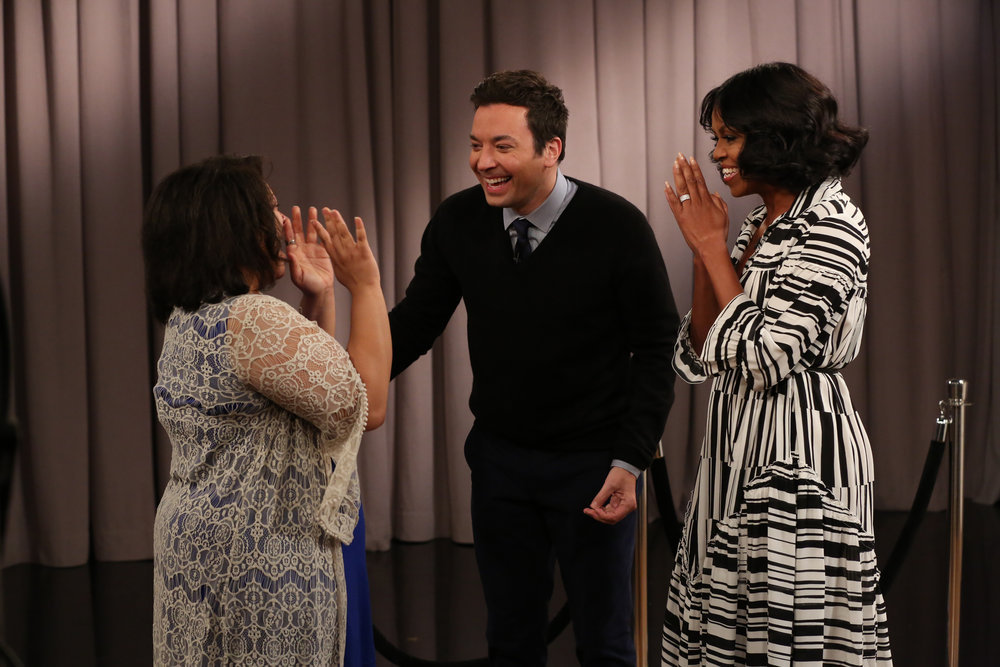 "THE TONIGHT SHOW STARRING JIMMY FALLON -- Episode 0600 -- Pictured: (l-r) Host Jimmy Fallon and First Lady Michelle Obama surprise a guest during the ""Thank You First Lady Michelle Obama"" segment on January 11, 2017 -- (Photo by: Andrew Lipovsky/NBC)"