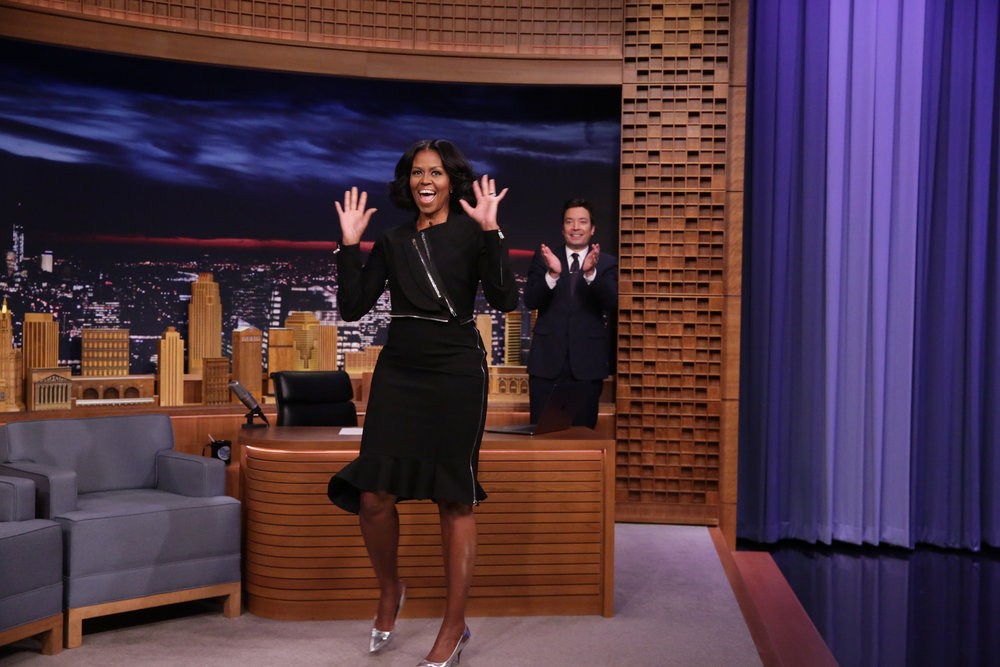 THE TONIGHT SHOW STARRING JIMMY FALLON -- Episode 0600 -- Pictured: (l-r) First Lady Michelle Obama arrives to an interview with host Jimmy Fallon on January 11, 2017 -- (Photo by: Andrew Lipovsky/NBC)