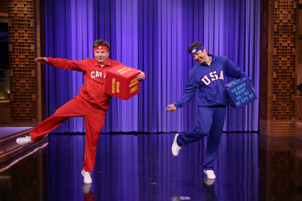 THE TONIGHT SHOW STARRING JIMMY FALLON -- Episode 0609 -- Pictured: (l-r) Comedian Mike Myers and host Jimmy Fallon play dice dance-off on January 24, 2017 -- (Photo by: Andrew Lipovsky/NBC)