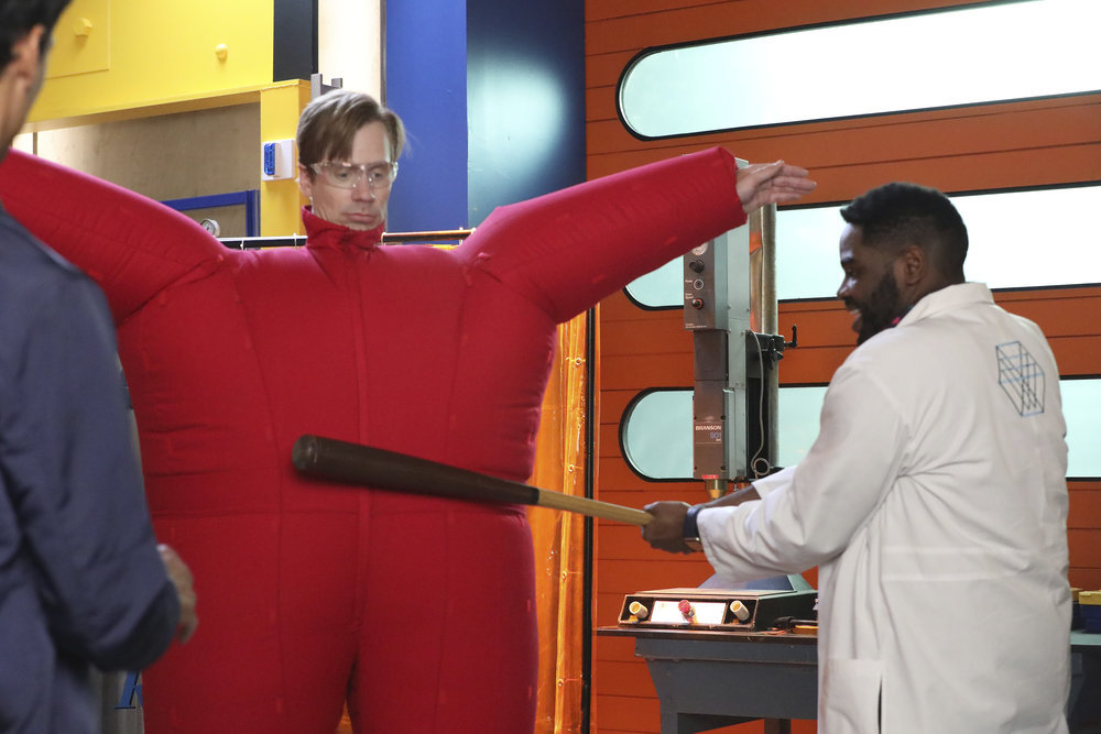 """POWERLESS -- """"Wayne or Lose"""" Episode 102 -- Pictured: (l-r) Josh Breeding as Steve, Ron Funches as Ron -- (Photo by: Evans Vestal Ward/NBC)"""